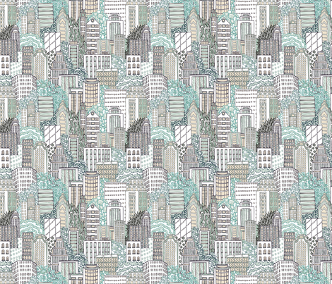 Biro City at Day fabric by teja_jamilla on Spoonflower - custom fabric
