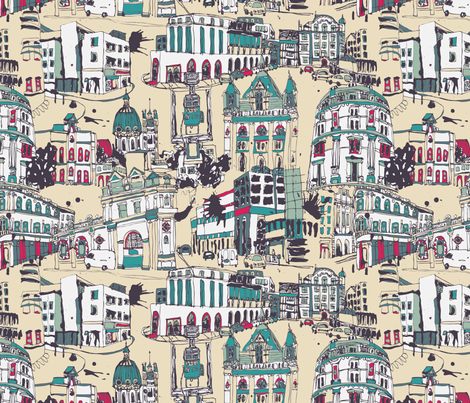 London Sketches fabric by teja_jamilla on Spoonflower - custom fabric