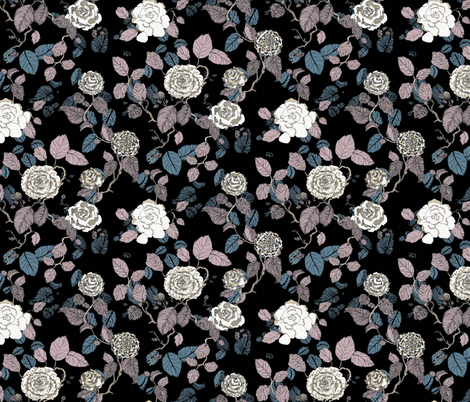 Inky Roses fabric by teja_jamilla on Spoonflower - custom fabric