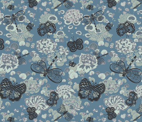 Pond Butterflies and Dragonflies fabric by teja_jamilla on Spoonflower - custom fabric