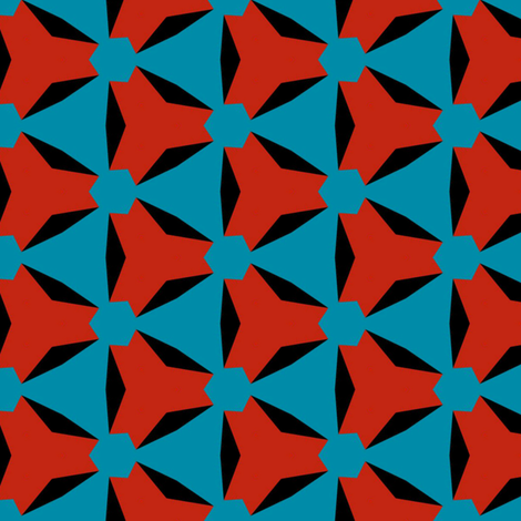 Retro Red Black and Blue fabric by stoflab on Spoonflower - custom fabric