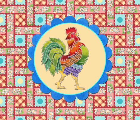 Heidi Folkloric with Roosters fabric by patricia_shea on Spoonflower - custom fabric