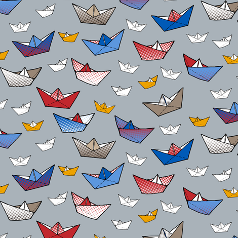 Fold a boat! fabric by annosch on Spoonflower - custom fabric
