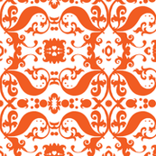 Damask with white hearts orange
