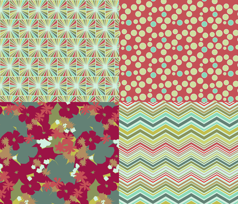 funky flower collection fabric by littlerhodydesign on Spoonflower - custom fabric