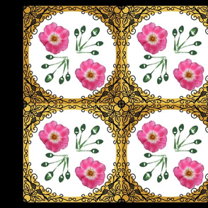Ironwork bordered_rose_pillow_panel_