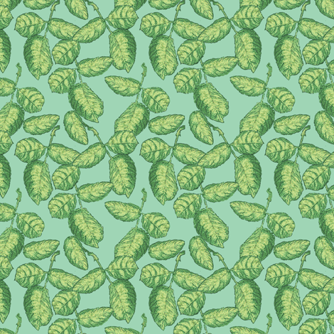 Tossed_Rose_Leaves_ fabric by khowardquilts on Spoonflower - custom fabric
