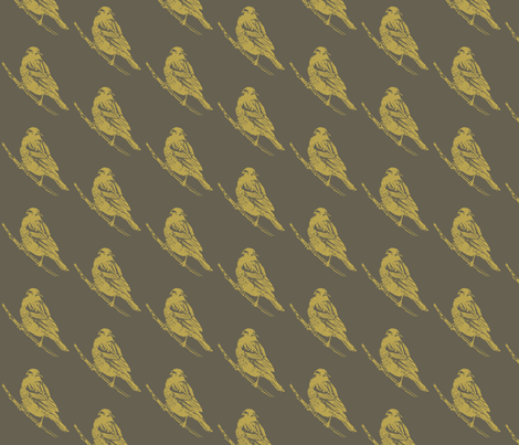 Red Winged Black Bird in Yellow Ocre and Drab fabric by retrofiedshop on Spoonflower - custom fabric