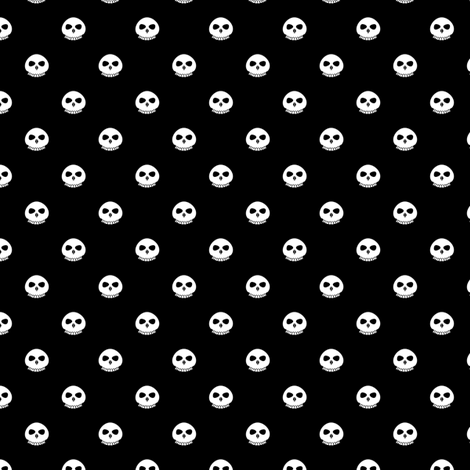 Bone Skull Polka Dots fabric by taracrowleythewyrd on Spoonflower - custom fabric