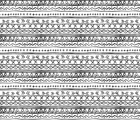 Chalk Tribal Stripe (White) fabric by leanne on Spoonflower - custom fabric
