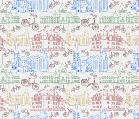 Cycling Aarhus fabric by leeleeandthebee on Spoonflower - custom fabric