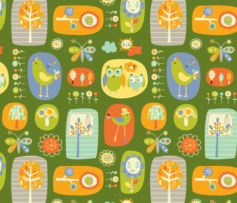 owl and bird garden fabric by amel24 on Spoonflower - custom fabric