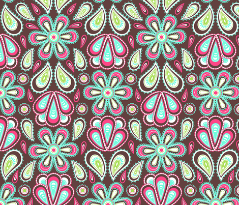 Stitched flowers fabric by cjldesigns on Spoonflower - custom fabric