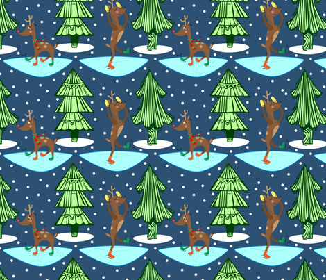 Skating Reindeer fabric by gsonge on Spoonflower - custom fabric