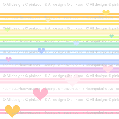 Rainbow Pastel - Double Striped Hearts -  © PinkSodaPop 4ComputerHeaven.com