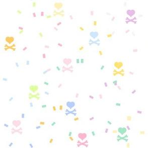 Rainbow Pastel - Confetti Heartskulls  -  © PinkSodaPop 4ComputerHeaven.com