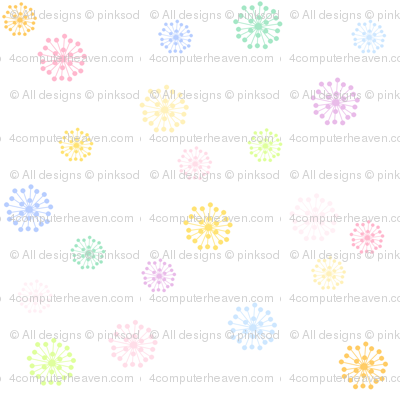 Rainbow Pastel - Retro Flowers  -  © PinkSodaPop 4ComputerHeaven.com