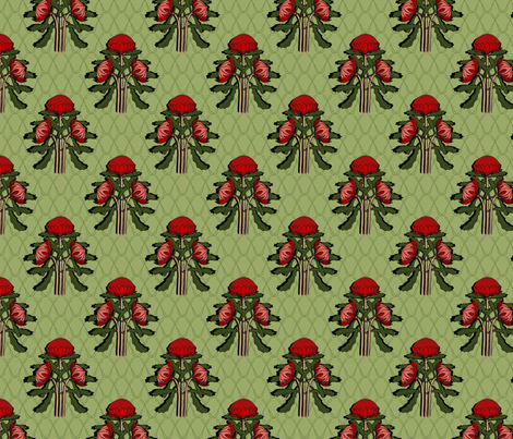 Shadowed waratah sparse on green fabric by su_g on Spoonflower - custom fabric
