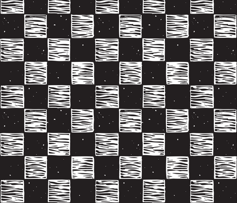 Rustic Checkerboard Medium, Rotated  B&W fabric by jenithea on Spoonflower - custom fabric