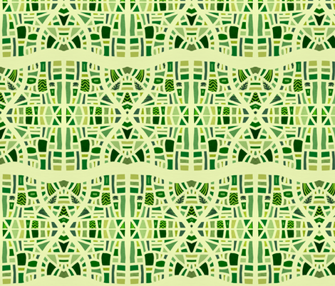 Hourglasses in mosaic greens fabric by su_g on Spoonflower - custom fabric