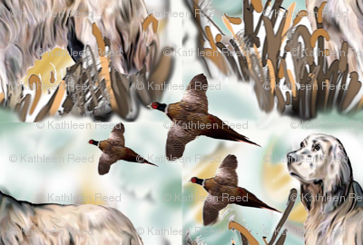 English Setter and Pheasants