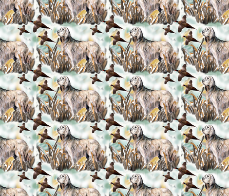 English Setter and Pheasants fabric by dogdaze_ on Spoonflower - custom fabric