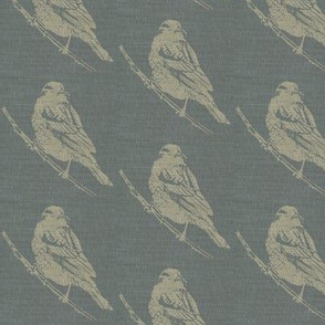 Blackbirds on Blue Burlap