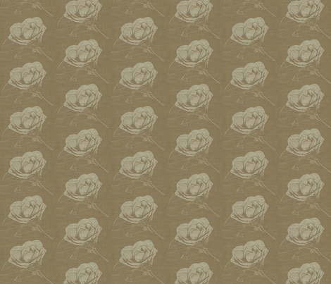 Camelia on Tabacco Brown fabric by retrofiedshop on Spoonflower - custom fabric