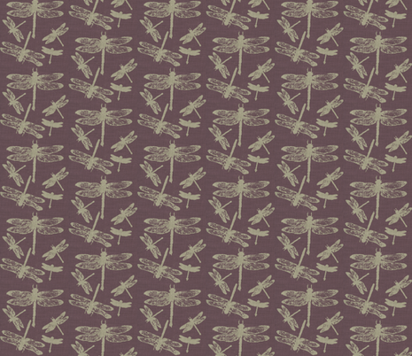 Dragonflies on Purple Burlap fabric by retrofiedshop on Spoonflower - custom fabric