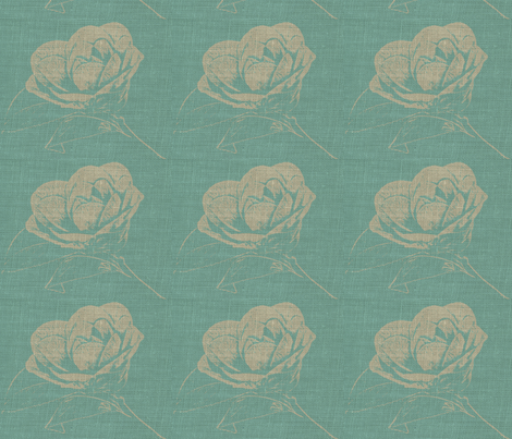 Camelias on Blue Burlap fabric by retrofiedshop on Spoonflower - custom fabric