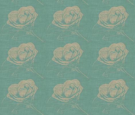 Camelias on Blue Burlap fabric by retrofiedshop on Spoonflower - custom fabric
