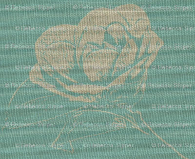 Camelias on Blue Burlap
