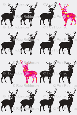 black stags with red floral pattern