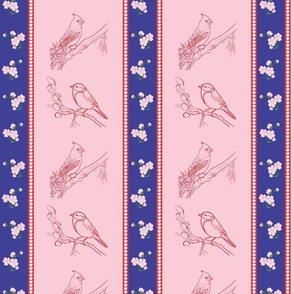 Birds and Blossoms (pink & blue)