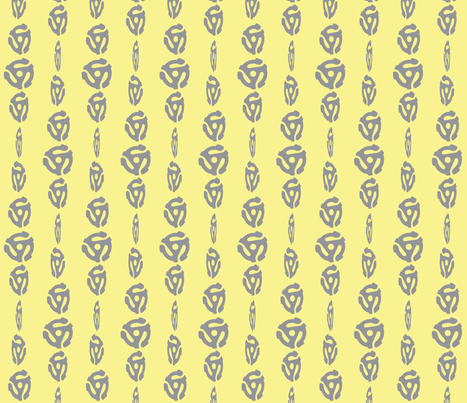 Spinning 45's - Lemon/Gray fabric by owlandchickadee on Spoonflower - custom fabric