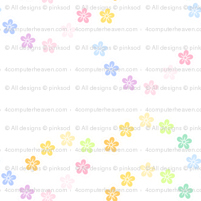 Rainbow Pastel - Tropical Flowers -  © PinkSodaPop 4ComputerHeaven.com