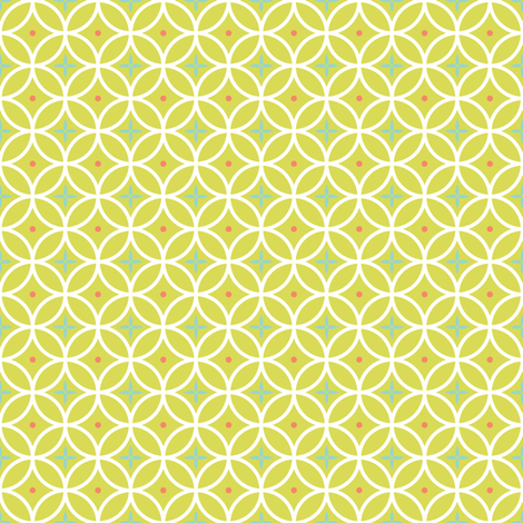 Ring Toss - celery / aqua / coral fabric by kayajoy on Spoonflower - custom fabric