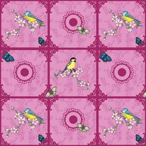 Birds at your window (purple and pink)