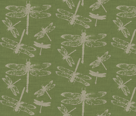 Dragonflies on Green Burlap fabric by retrofiedshop on Spoonflower - custom fabric