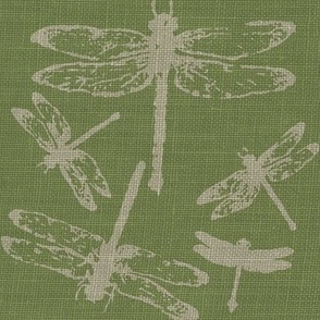 Dragonflies on Green Burlap