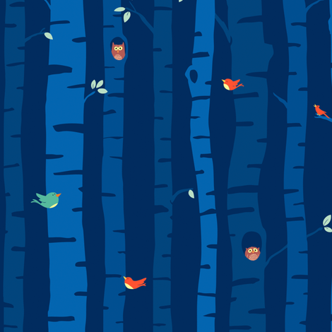 night trees fabric by sheena_hisiro on Spoonflower - custom fabric