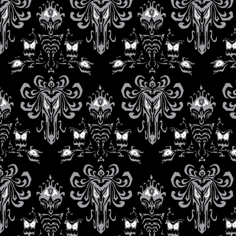 Haunted Mansion black silver fabric by knittychick on Spoonflower - custom fabric