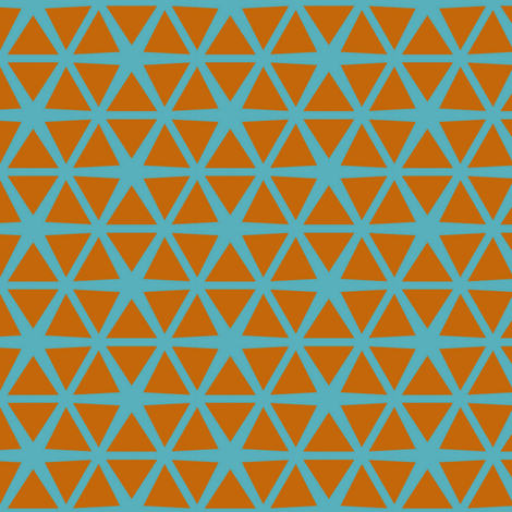 Triangles Orange on Blue fabric by stoflab on Spoonflower - custom fabric