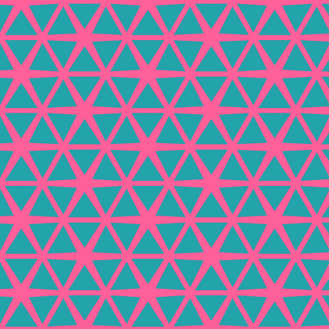 Triangles Blue on Pink fabric by stoflab on Spoonflower - custom fabric