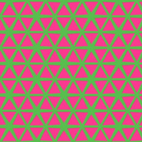 Triangles Pink on Green fabric by stoflab on Spoonflower - custom fabric