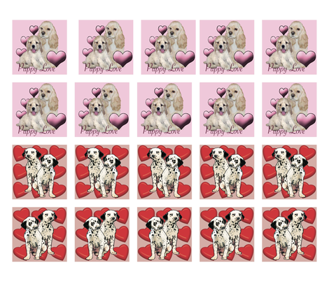 Puppy Love Valentines day quilt squares fabric by dogdaze_ on Spoonflower - custom fabric