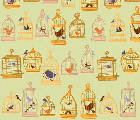 bird cages fabric by sheena_hisiro on Spoonflower - custom fabric