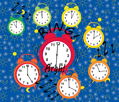 Alarm clocks... WAKE UP sleepy head fabric by alexsan on Spoonflower - custom fabric