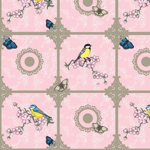 Birds at your window (pink and Beige)