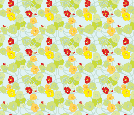 Nasturtiums Fresh fabric by anntuck on Spoonflower - custom fabric